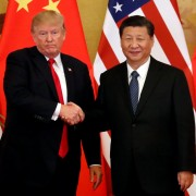 Image: U.S. President Donald Trump and China's President Xi Jinping make joint statements at the Great Hall of the People in Beijing